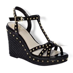Vince Camuto Shoes - Vince Camuto Tamblyn Black Patent Wedge Sandal